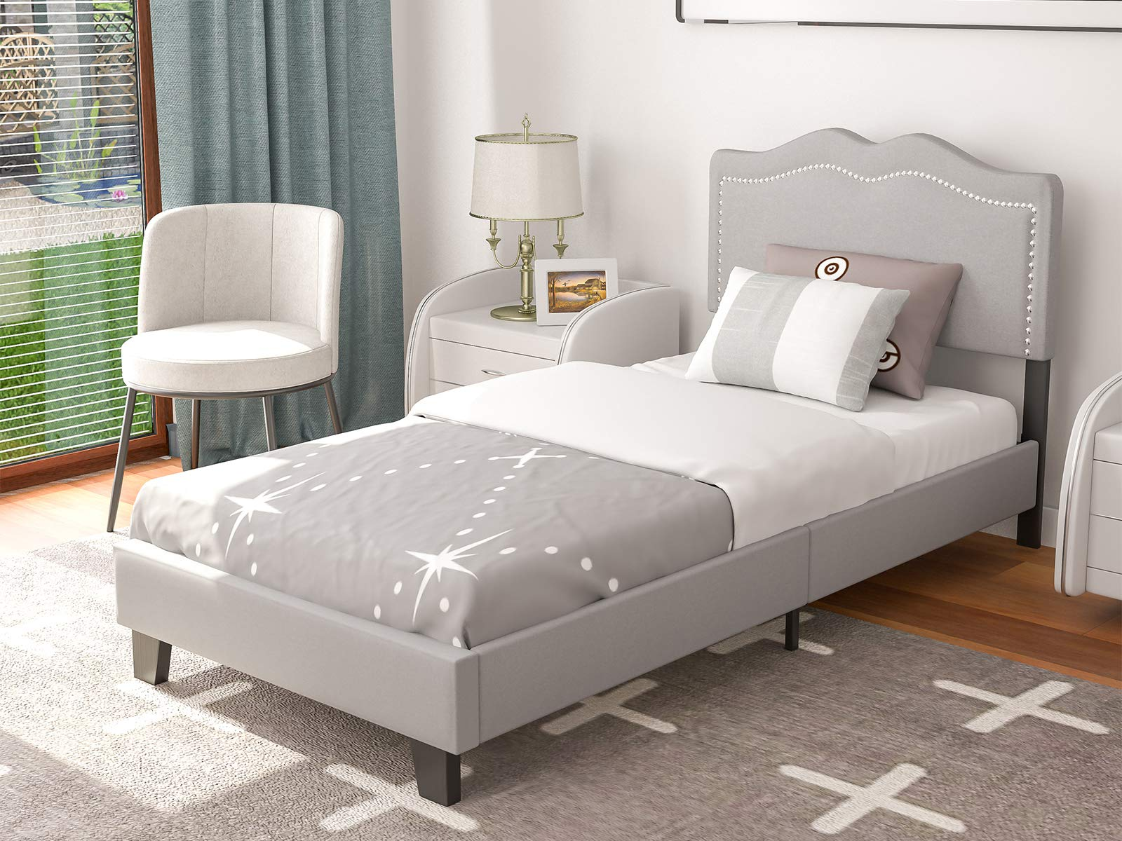 mecor Upholstered Linen Twin Platform Bed Frame with Curved Fabric Headboard, Headboard Height Adjustable, Nailhead Trim Design – Strong Wooden Slats Support – Light Grey, Twin