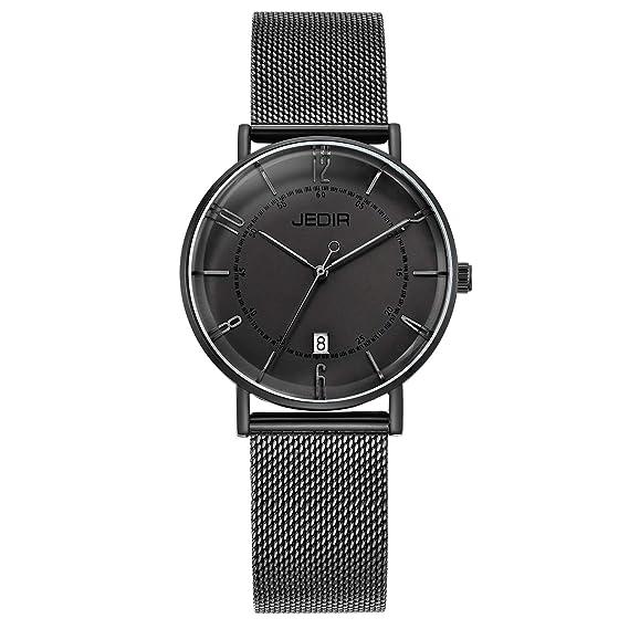 JEDIR Relojes Unisex Ultra Thin Mujeres Reloj de Cuarzo Analógico con Dial Negro Calendario Pantalla y