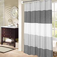 Mens Stall Shower Curtain for Bath Neutral Black and Grey Striped Pattern, Waterproof Polyester Fabric Cloth, 6 Hooks 36…