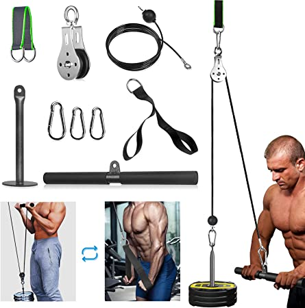 Gym Home Fitness Lat Pull Down Bar Hand Grips Pully Cable Machine Attachment New