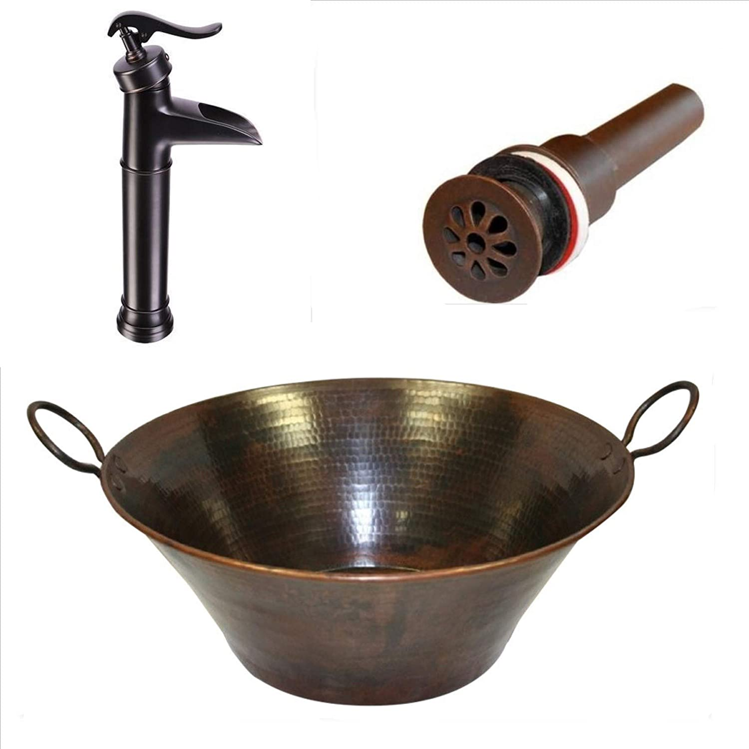 Small 14 Round Copper Bath Sink Vessel Or Drop-in Sink by SimplyCopper
