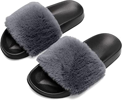 JINKUNL Womens Furry Slippers Open Toe Indoor Outdoor House Casual Flat Slides Sandals