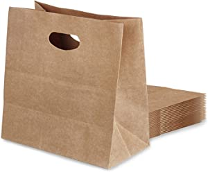 30 Pcs Kraft Paper Bags, Kraft Brown Gift Bags with Die Cut Handle, Kraft Paper Tote Bags Paper Grocery Bags Shopping Bags Takeout Bags for Restaurant, Bakery, Retail