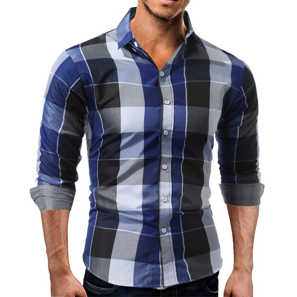 Hot Clearance Sale!Realdo Autumn Winter Mens Daily Long Sleeved Plaid Shirt Sweatshirts Top(Large,Blue)