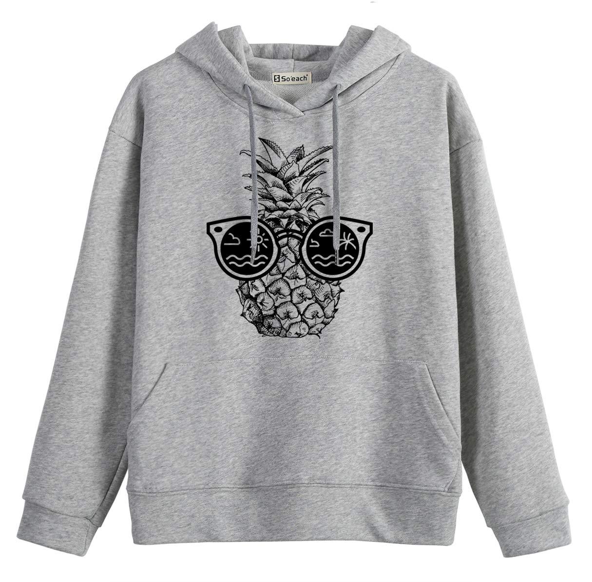 So'each Women Jumper Hoodies Sweatshirt with Sunglasses Pineapple Printed Grey