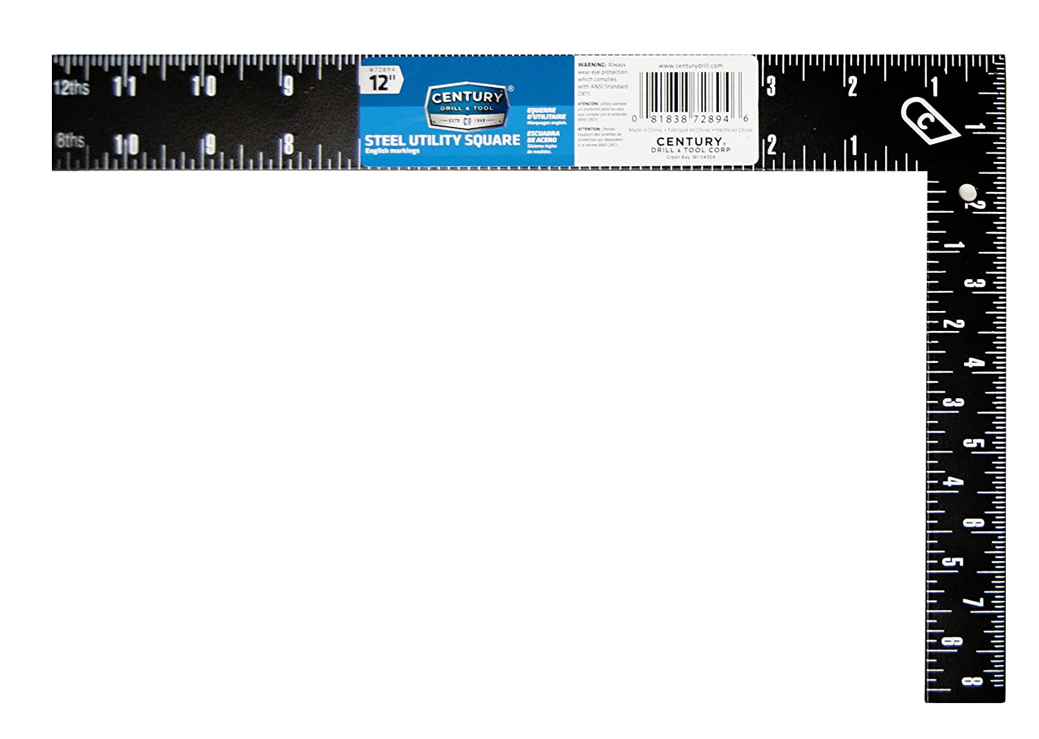 Century Drill and Tool 72894 Steel Rafter Square, 12-Inch