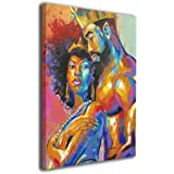 """African American Lovers Couple Wall Art 12""""x16"""" Painting Canvas Home Decor for Living Room Bedroom"""