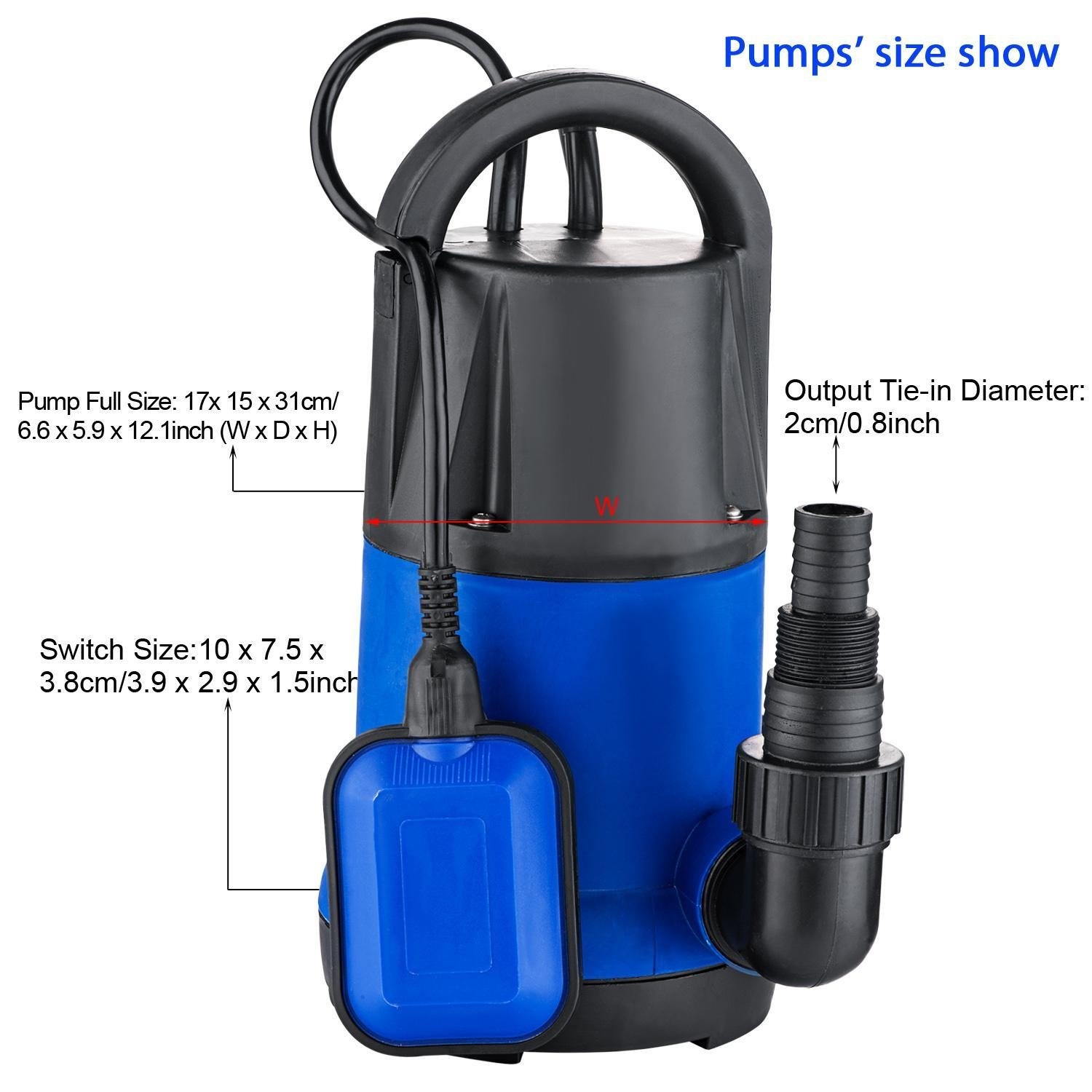 Hindom 3400GPH 1100W Automatic Submersible Water Pump for Dirty Water Transfer, Swimming Pool, Pond (US STOCK)