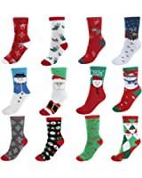 Ayliss 12Pairs Women's Cute Pattern Colorful Cotton Screw Socks,Christmas Style