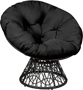 Giantex Rattan Round Papasan Chair, 360-Degree Swivel Egg Chair with Soft Cushion, Living Room Chair Leisure Chair with Black Frame Indoor Outdoor Use (Black)