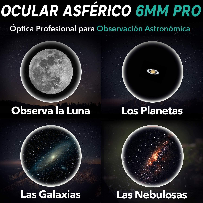 """1,25/"""" Lente Asf/érica HD de 62/º S/úper Ligero Ocular Telescopio 6mm Pro Slokey Compacto y Resistente Amplio Campo de Visi/ón y Calidad /Óptica Excepcional para una Imagen N/ítida y Luminosa"""