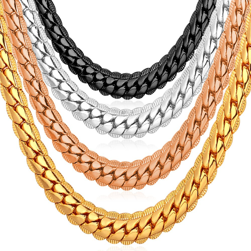 U7 Men's Chain Necklace 22 inches Rose-Gold-Plated(6Mm Wide) (B010LWZ4SE) Amazon Price History, Amazon Price Tracker
