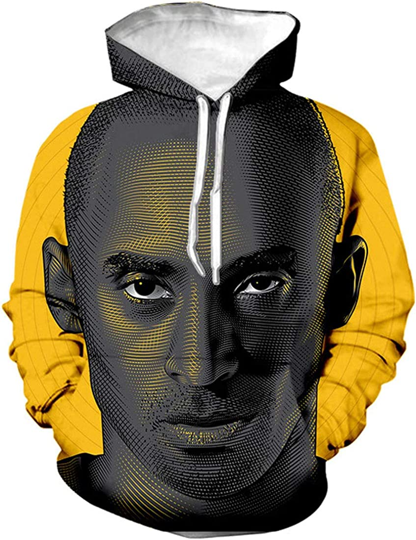S/&S Mens Hoodie Sweatshirt Print 3D Kobe Mamba Out #24 Bryant Hooded Pullover with Pocket