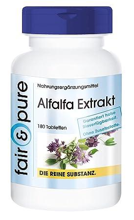 180 comprimidos vegetarianas de extracto de alfalfa (Medicago sativa) - Sustancia pura sin aditivos: Amazon.es: Salud y cuidado personal