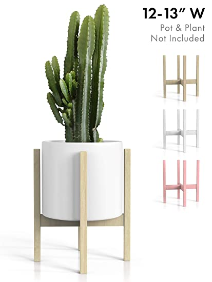 183c37c88669 Mid Century Modern Plant Stand - Fits Large 12 & 13 Inch Planter Pots (NOT  Included) - Handmade Wood Standing Holder for Indoor House Plants and  Outdoor ...