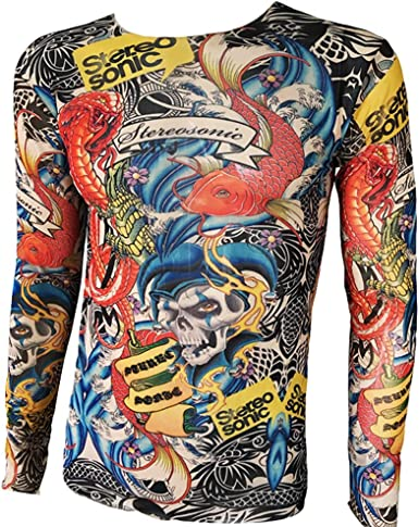 WanYangg Camiseta De Tatuaje para Hombre Camiseta Transpirable Manga Larga Camisas con Tatuajes Ropa Tattoo Camisetas Tatuadas 107LYMS: Amazon.es: Ropa y accesorios