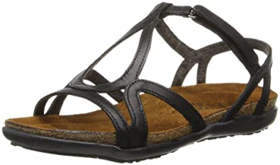 NAOT Dorith Flat Elegant Women Sandals, Black Raven Leather,Size - 35