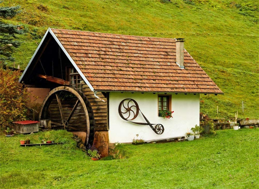SZZWY Rural Small Old House Backdrop 7X5FT Vinyl Vintage Wheel Backdrops Fresh Flowers Green Grass Meadow Mountain Hill Photography Background for Outdoor Tour Tourism Photo Studio Prop QB53