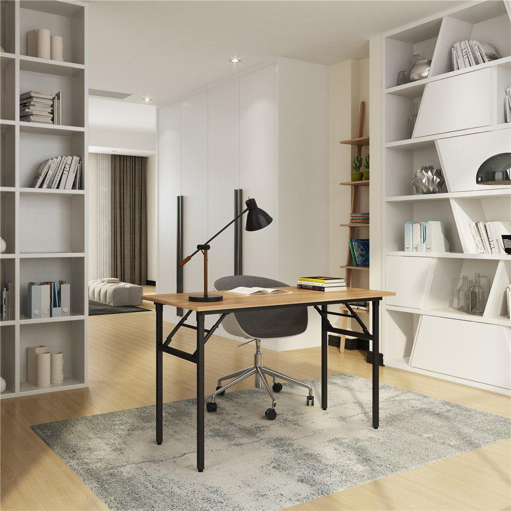 Need Folding Desk for Home Office 39-3/8'' Length Modern Folding Table Computer Desk No Install Needed Teak Color Desktop Black Frame, AC5BB(10060)