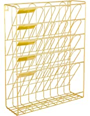 Superbpag Hanging Wall File Organizer, 5 Slot Wire Metal Wall Mounted Document Holder for Office Home, Gold