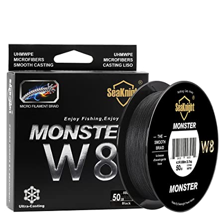 SeaKnight Monster W8 Braided Lines 8 Strands Weaves 328Yards 547Yards Super Smooth PE Braided Multifilament Fishing Lines for Sea Fishing 15-100LB
