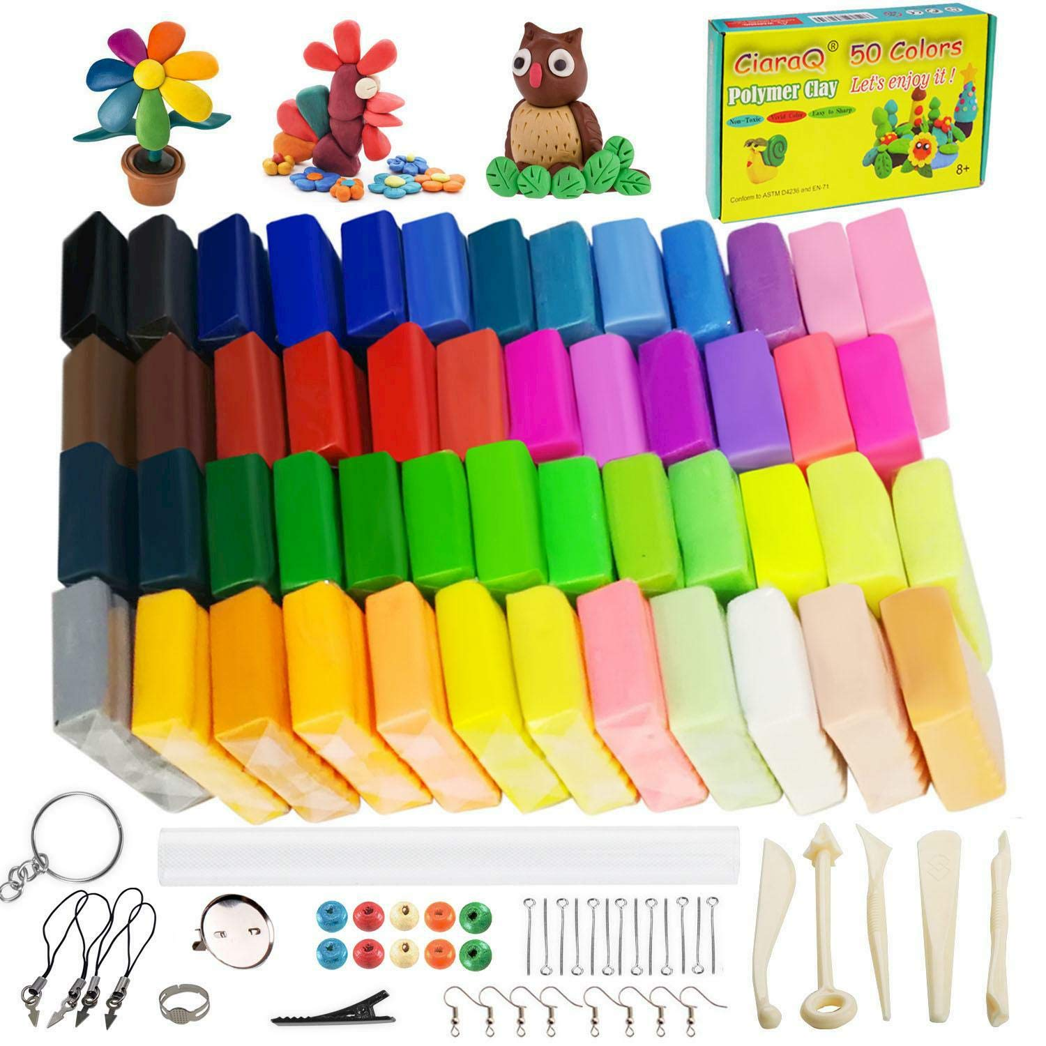 Polymer Clay Starter Kit, 50 Colors Oven Bake Clay with 8 pcs Modeling Tools and 30 Jewelry Accessories, Safe and Nontoxic DIY Baking Clay Blocks Accessories.