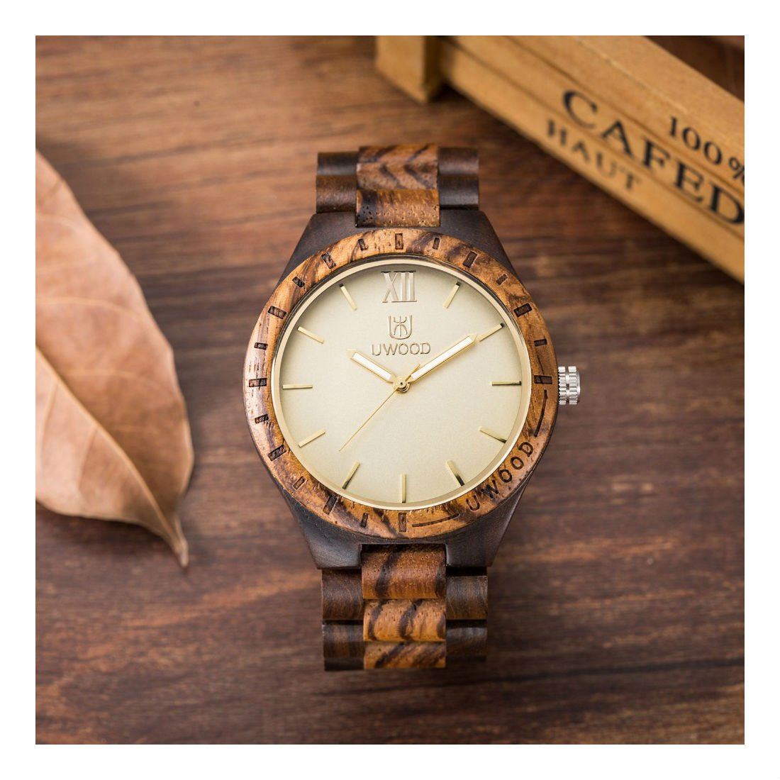 Mens Wooden Watches Classy Watch Solid Wood Gift for Men Relogio Masculino by Unknown (Image #3)