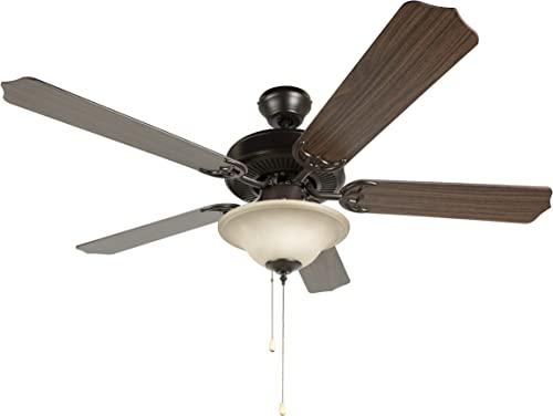 Hyperikon 42 Inch Ceiling Fan, 60W, Remote Control and Pull Chain, Rust Body, 5 Blades, Frosted Dome Light E12 Screwbase, Oak