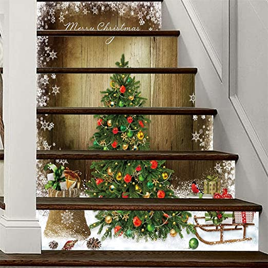Creativo árbol de navidad 3D autoadhesivo Escalera Pegatinas- impermeable extraíble Mural del peldaño etique cáscara y palillo decoración del hogar 40