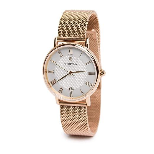 Reloj mujer extra-plate chapado oro rosa pulsera malla Milanaise chapado en oro rosa: Amazon.es: Relojes