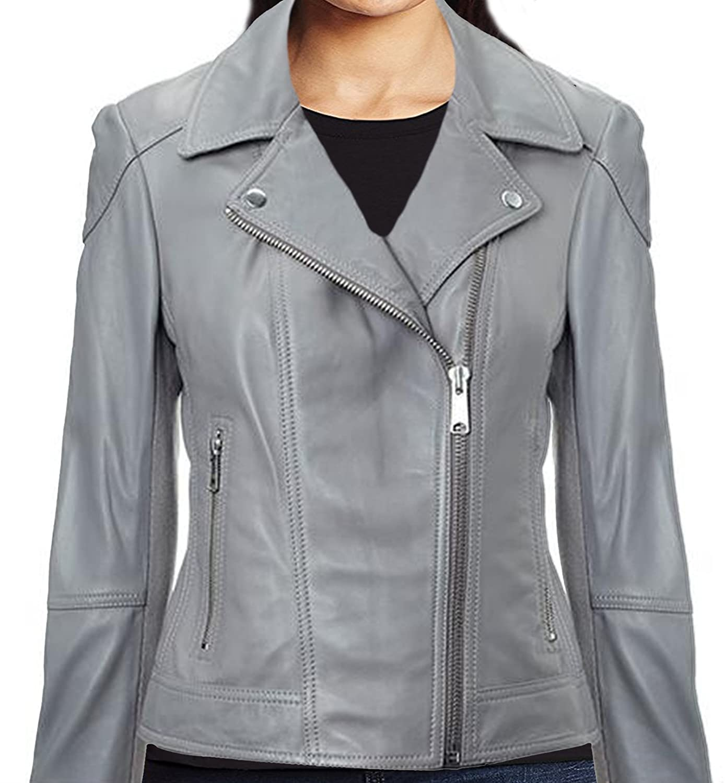NMFashions Women's Grey Moto Classic Slimfit Hi Quality Geniune Leather Jacket