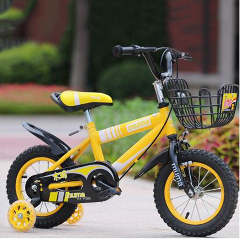 HAIZHEN マウンテンバイク ボーイズキッズバイクグリーン/ブルー/レッド/イエロー12インチ、14インチ、16インチ、18インチ 新生児 B07C41VZBL 18 inch|イエロー いえろ゜ イエロー いえろ゜ 18 inch
