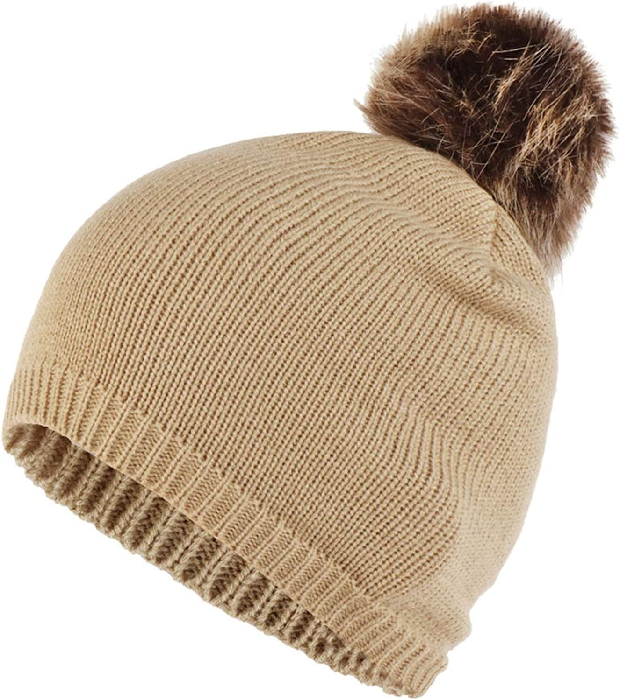 Hats 1PC Women Cap Fashion Women Knitting Wool Hemming Hat Solid Keep Warm Winter Hairball Cap Hats
