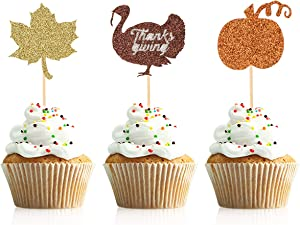 Donoter 36 Pcs Thanksgiving Cupcake Toppers Turkey Maple Leaf Pumpkin Cake Picks for Thanksgiving Day Party Decorations