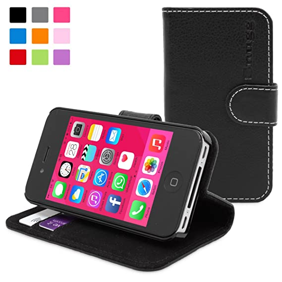 newest 91e6f 9aae1 iPhone 4 Case, Snugg Black Leather Flip Case [Card Slots] Executive Apple  iPhone 4 Wallet Case Cover and Stand - Legacy Series
