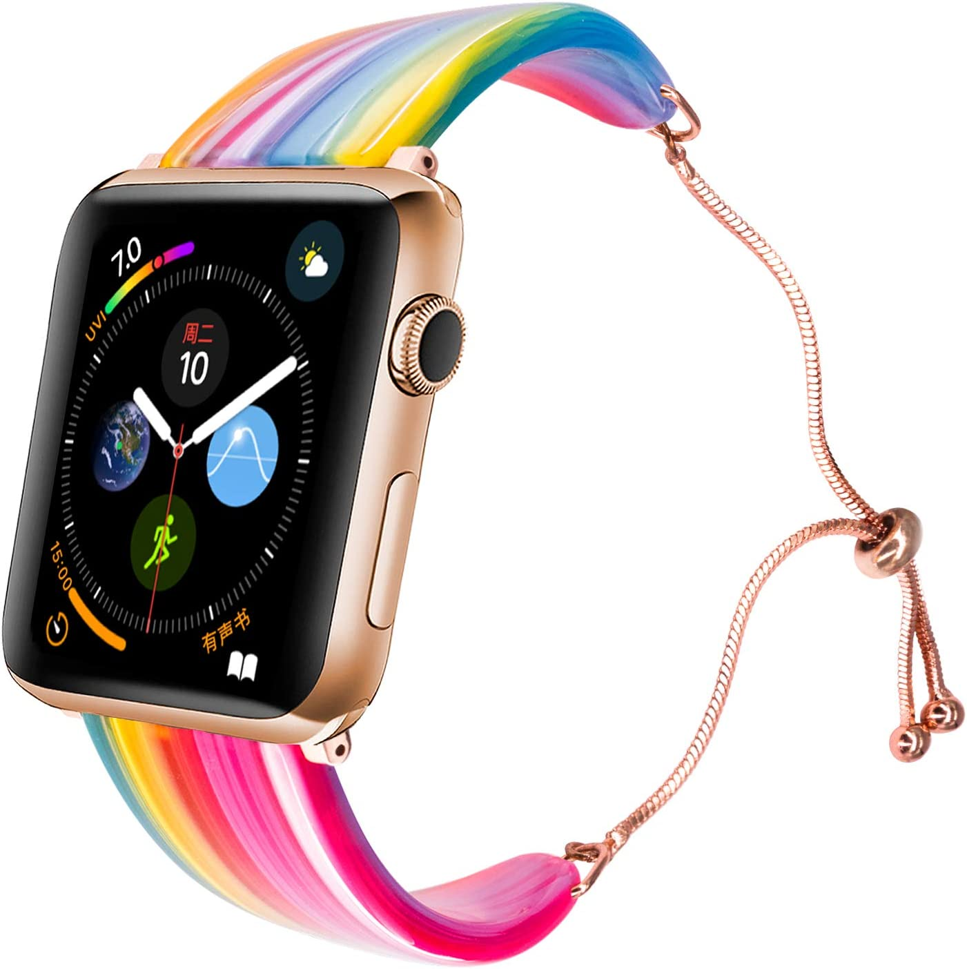 LINXUXIE Compatible with Apple Watch Bands 38mm 40mm,Women Dressy Resin Wristband Adjustable Bracelet Stylish Strap for iWatch Series SE/6/5/4/3/2/1 (Rainbow 1G, 38/40mm)