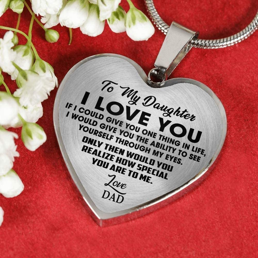 Gold Heart Pendant Father and Child to My Daughter Heart Necklace to My Daughter Pendant Gift for Your Daughter ZEN DEAL