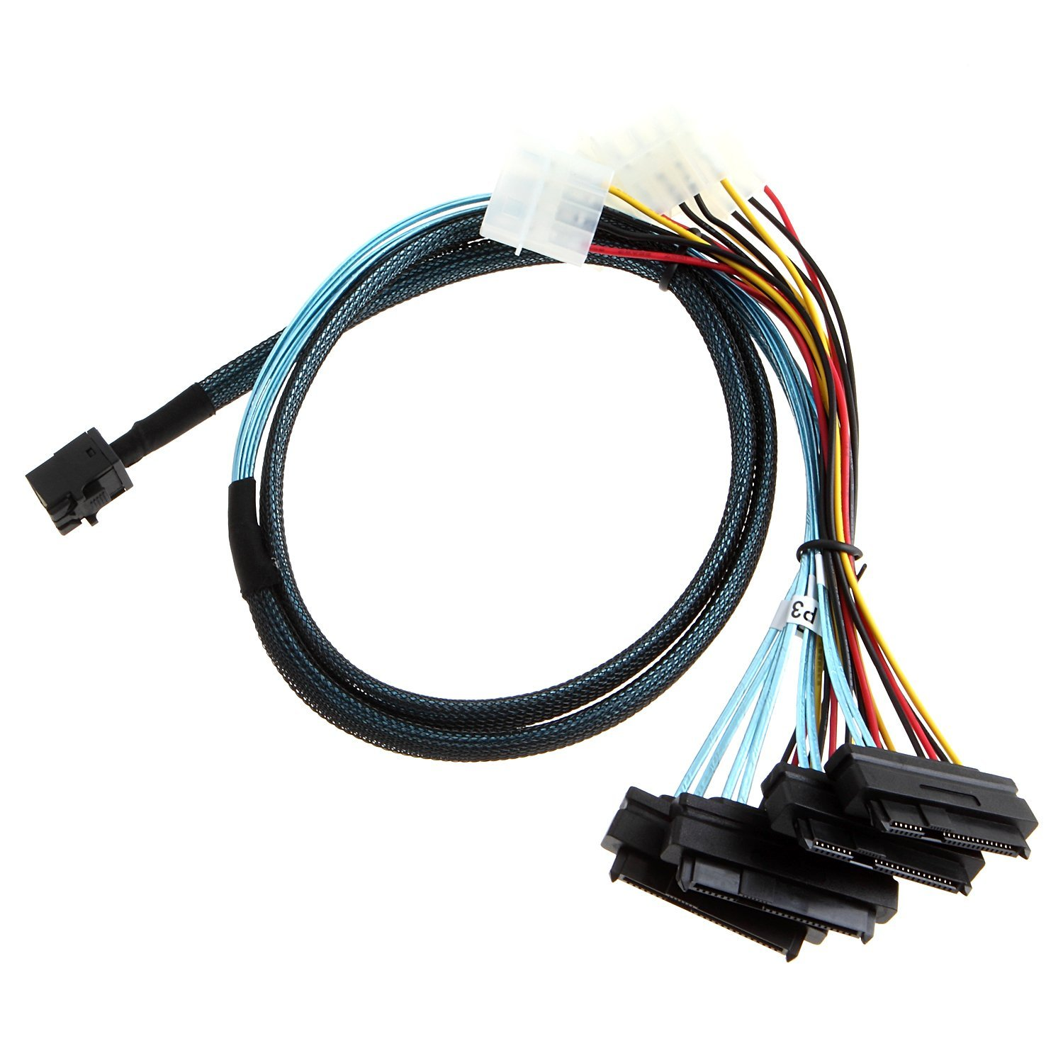 CableCreation Internal Mini SAS SFF-8643 to (4) 29pin SFF-8482 connectors with SATA Power ,1M
