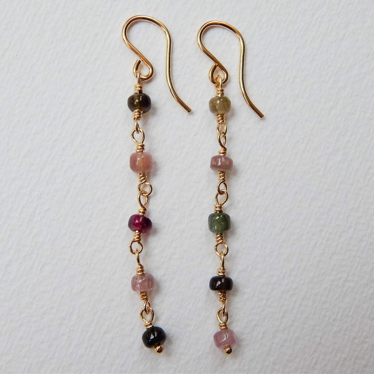 Moonstone Tourmaline Gold Hoop Earring Dreamcatcher Jewelry
