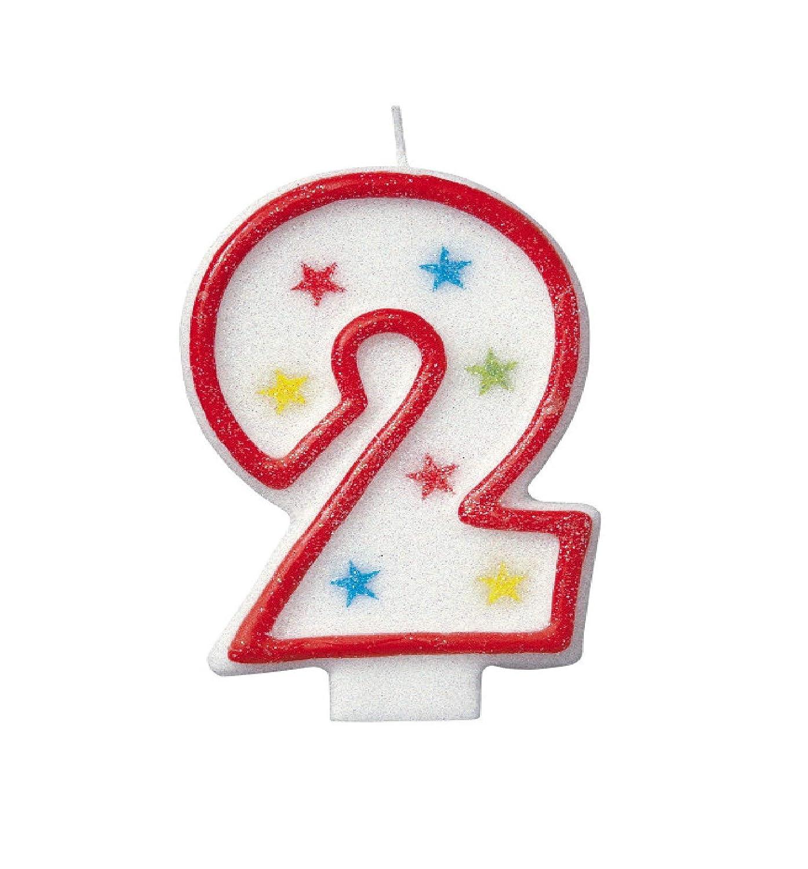 Número 2 del brillo cumpleaños Vela y decoración de la torta ...