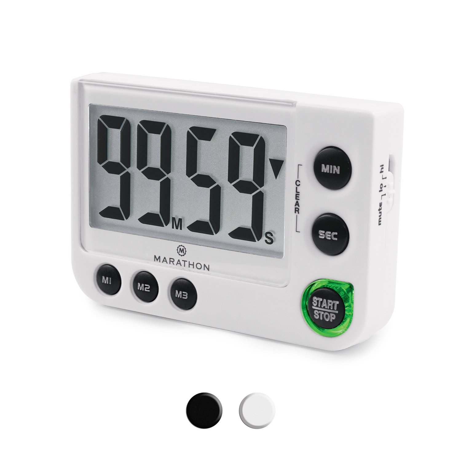 MarathonTI030016WH Large Display 100 Minute Count UP/Down Timer with  Adjustable Volume and Flashing Light Feature  Great for Visually or Hearing