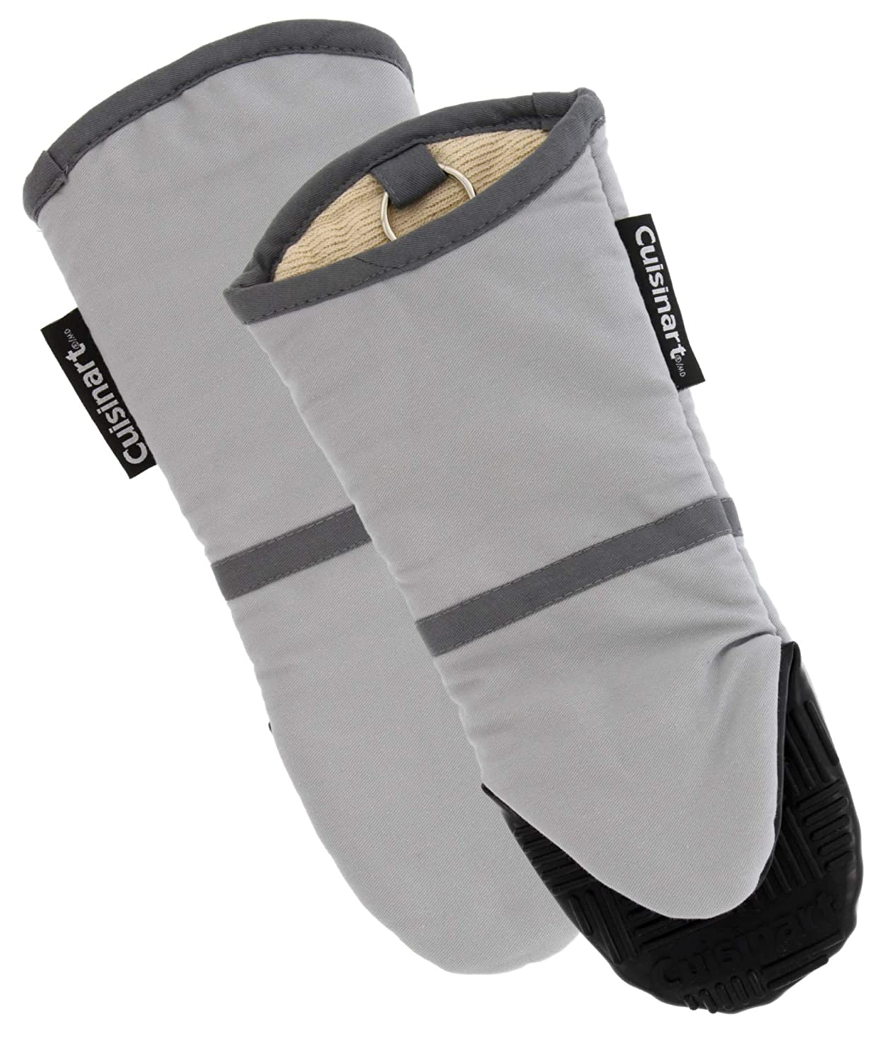 Cuisinart Silicone Oven Mitts -Heat Resistant up to 500 degrees F Handle Hot Cooking Items Safely-Non-Slip Grip Oven Gloves with Soft Insulated Deep Pockets and Convenient Hanging Loop-Light Grey, 2pk