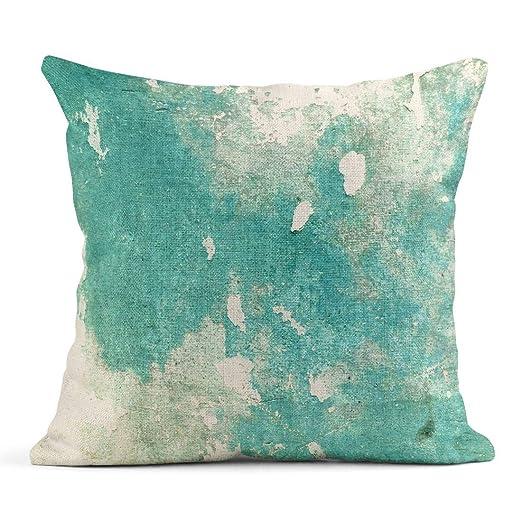 Kinhevao Cojín Color Azul Turquesa en Verde Piedra Maciza ...