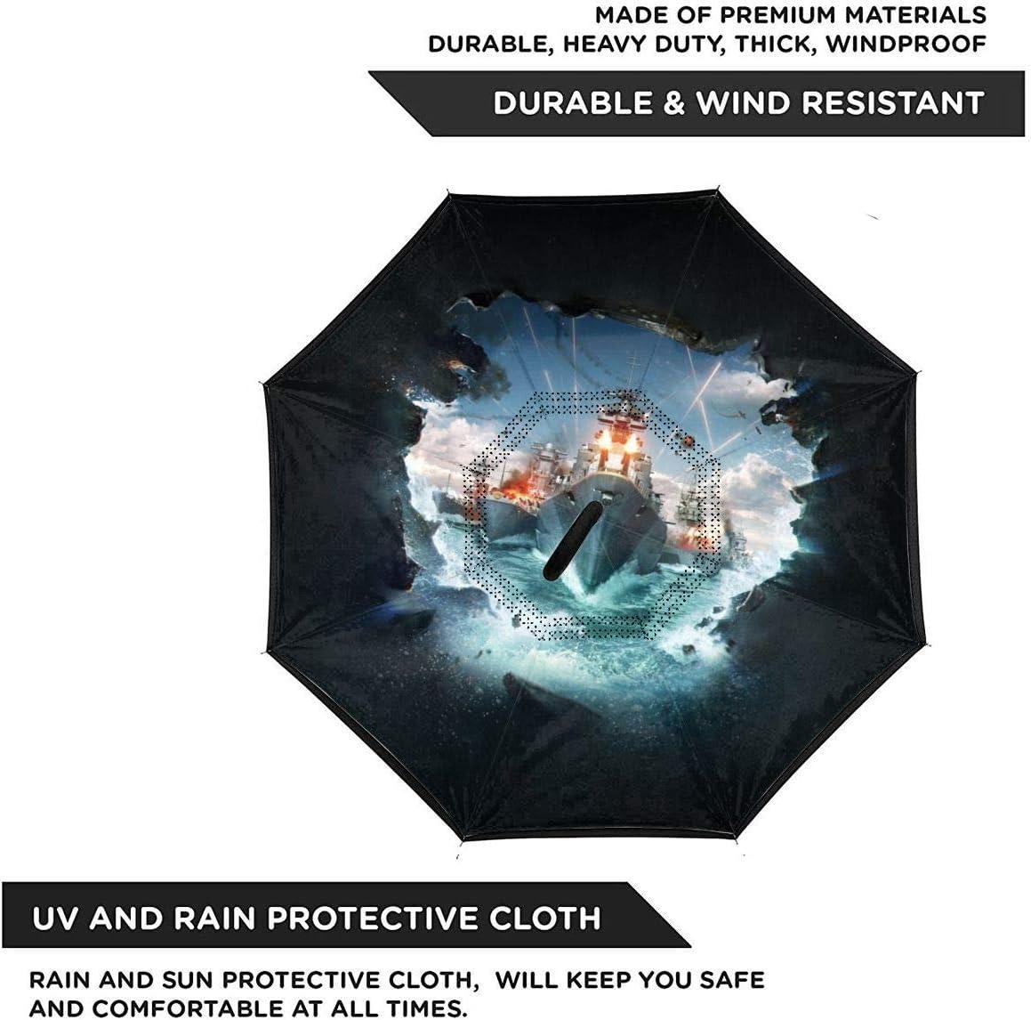 World Of Warships Car Reverse Umbrella With C-Shaped Handle UV Protection Inverted Folding Umbrellas Windproof And Rainproof Double Folding Inverted Umbrella