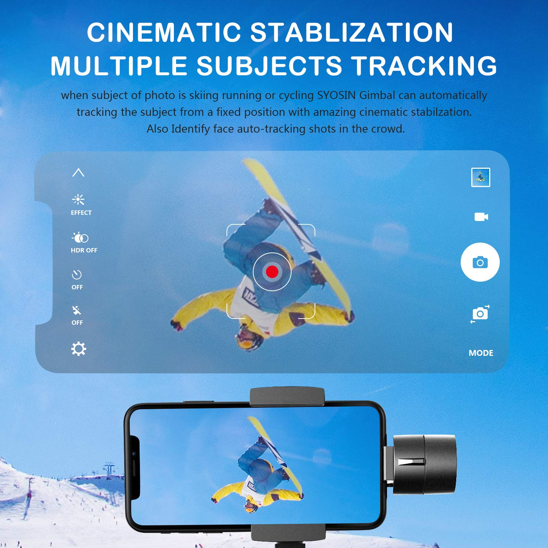 S5 Gimbal pour Stabilisateur Smartphone Stabilisateur de Cardan Extensible Suivi dobjet Mode Horizontal et Vertical Connexion Photo Selfie Focus Tirer /& Zoom Capability Noir
