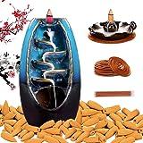 Sweet Alice Ceramic Backflow Incense Burner, Waterfall Incense Holder, with 120 Backflow Incense Cones+30 Incense Stick+20 In