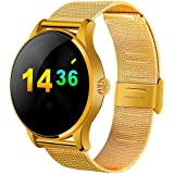 OPTA Bluetooth Heart Rate Smartwatch All-in-One Activity Tracker with Sleep Monitor for Android/iOS Smartphones (Gold)