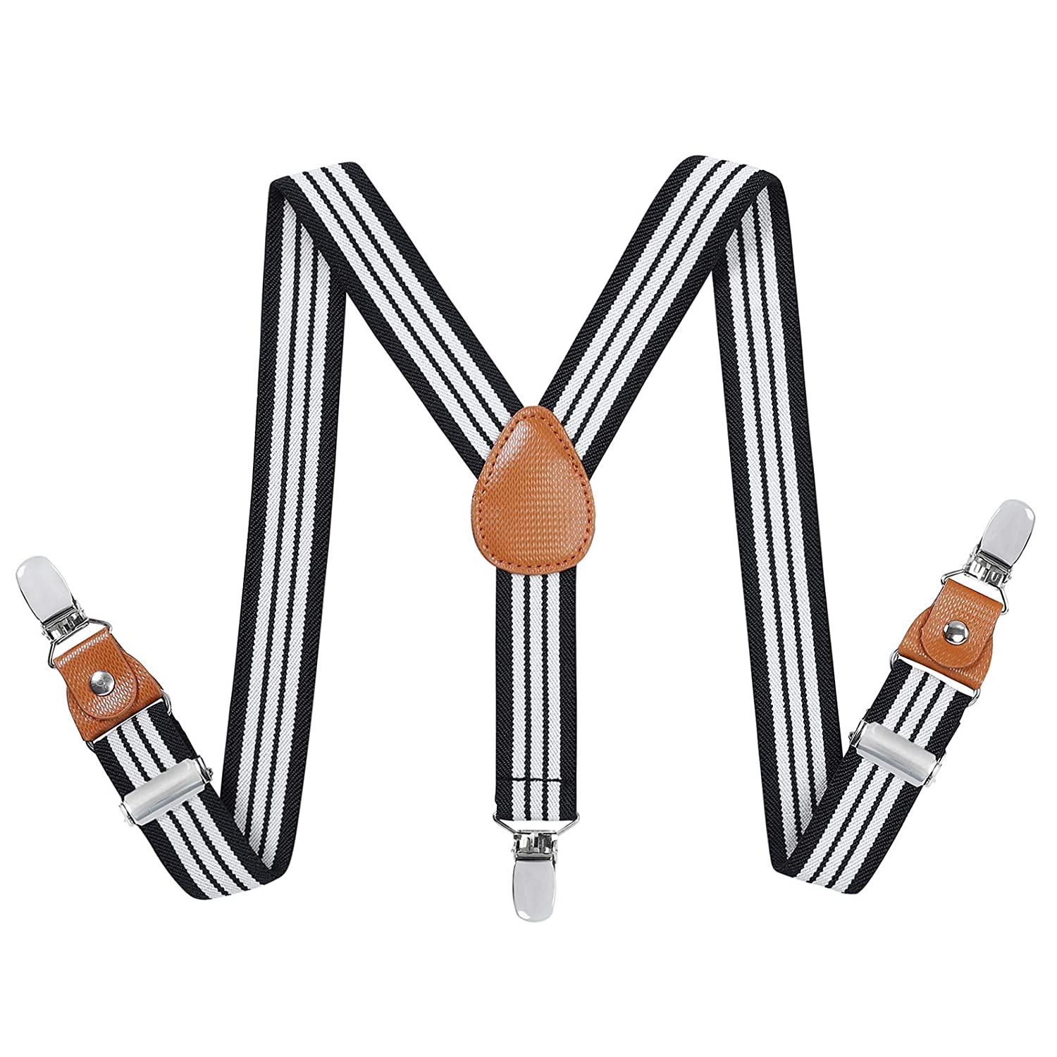 Toddler Boys Mens Elastic Suspenders - Y Back Adjustable Strong Clip Synthetic Suspenders (Brown, 43.3 Inch (Adults Size)) Jerrybaby