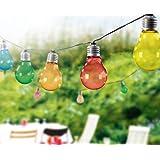 Filo di luci a LED per feste, con 10lampadine colorate a forma di lampadine a incandescenza, lunghezza di circa 8m, TG3208