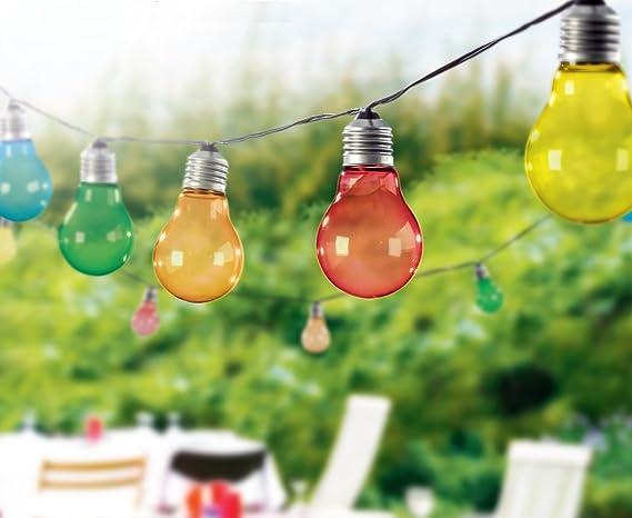 TG3208 Guirnalda de luces LED con 10luces multicolores en forma de bombilla de aprox